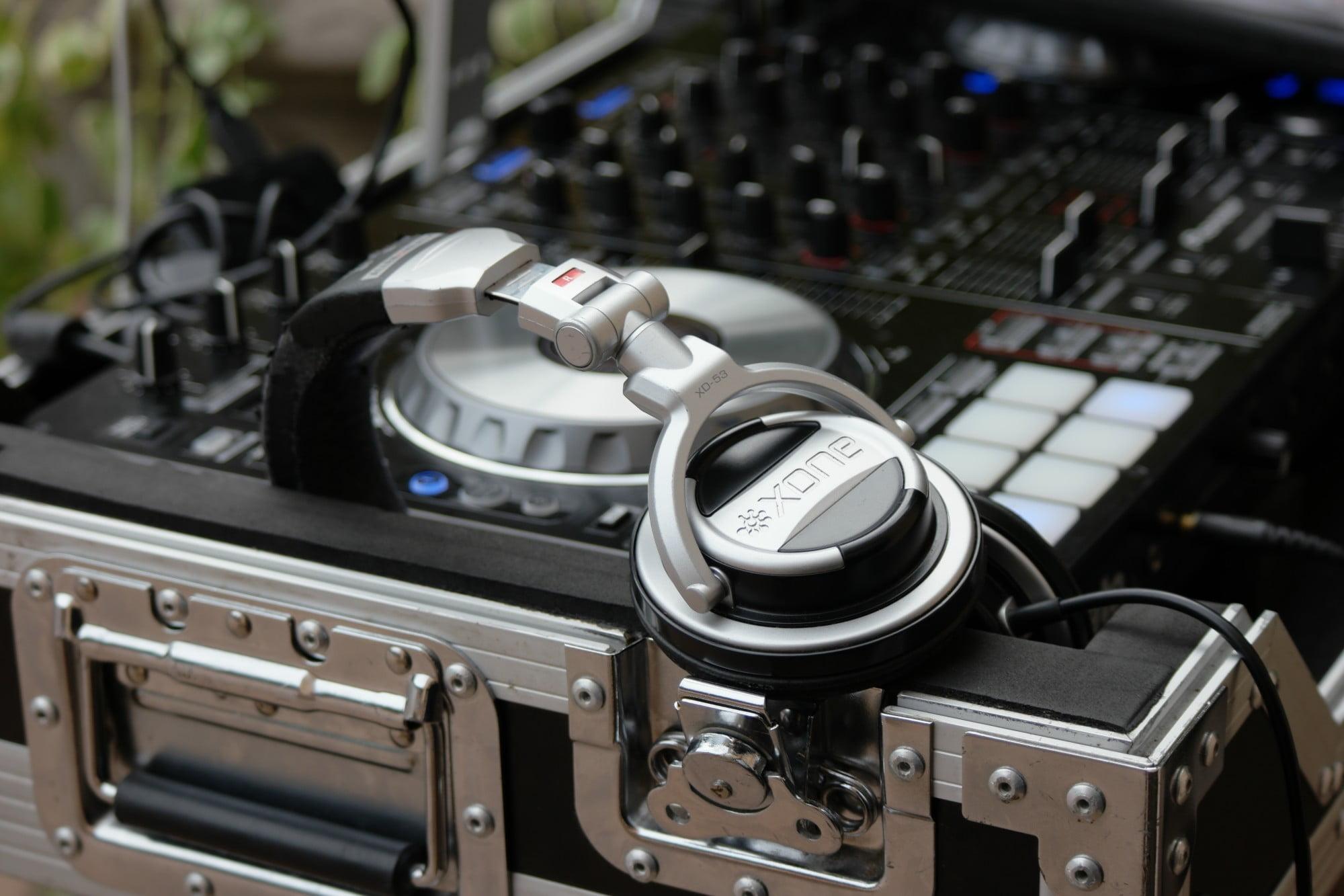 DJ soundboard with headphones